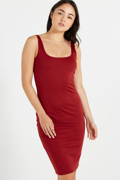Kimi Scooped Bodycon Midi Dress, GARNET