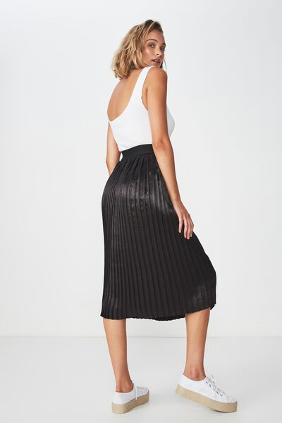 Woven Darby Satin Pleated Skirt, BLACK