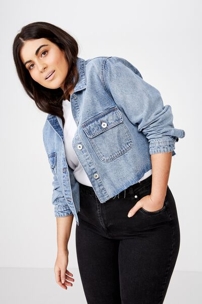 Curve Girlfriend Denim Jacket, BOSTON BLUE