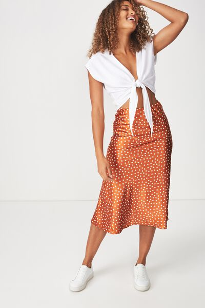 Woven Belle Bias Midi Skirt, RENE SPOT UMBER BROWN/WHITE ELASTICATED
