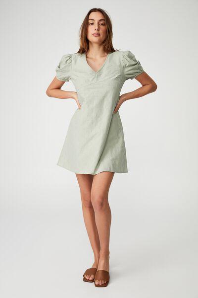 Woven Arianna Tie Back Mini Dress, SAGE