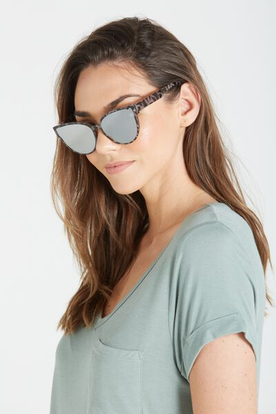Mandy Cat Eye Sunglasses, TORT/SILVER
