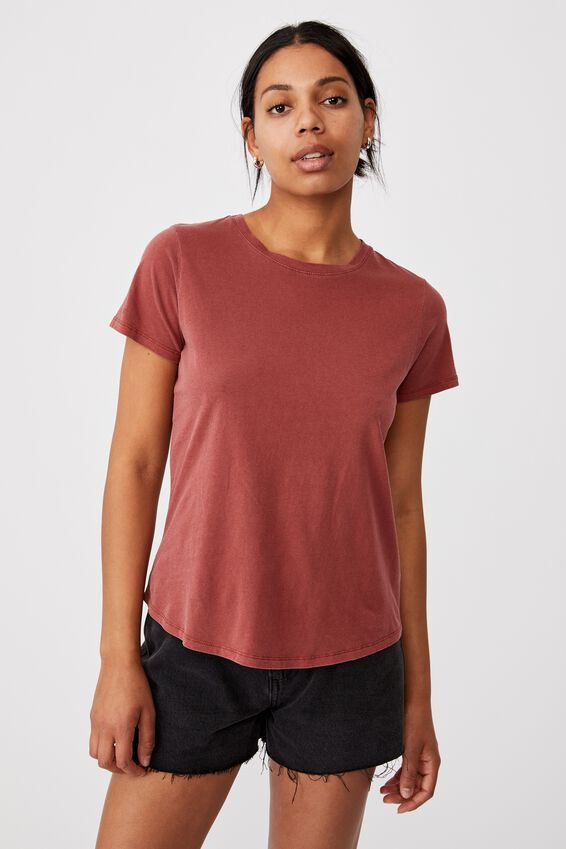 The One Crew Tee, WASHED TERRACOTTA