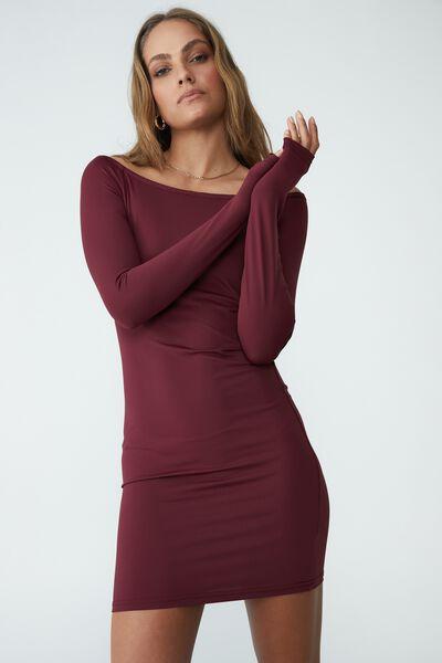 Macy Ls Bardot Neck Mini Dress, RICH BERRY