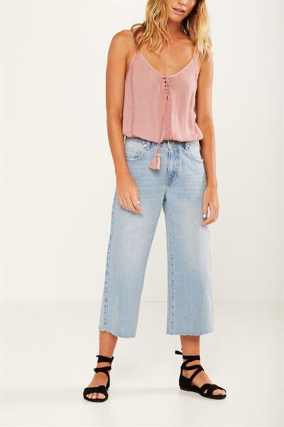 Mid Rise Wide Leg Crop Jean, SKY BLUE