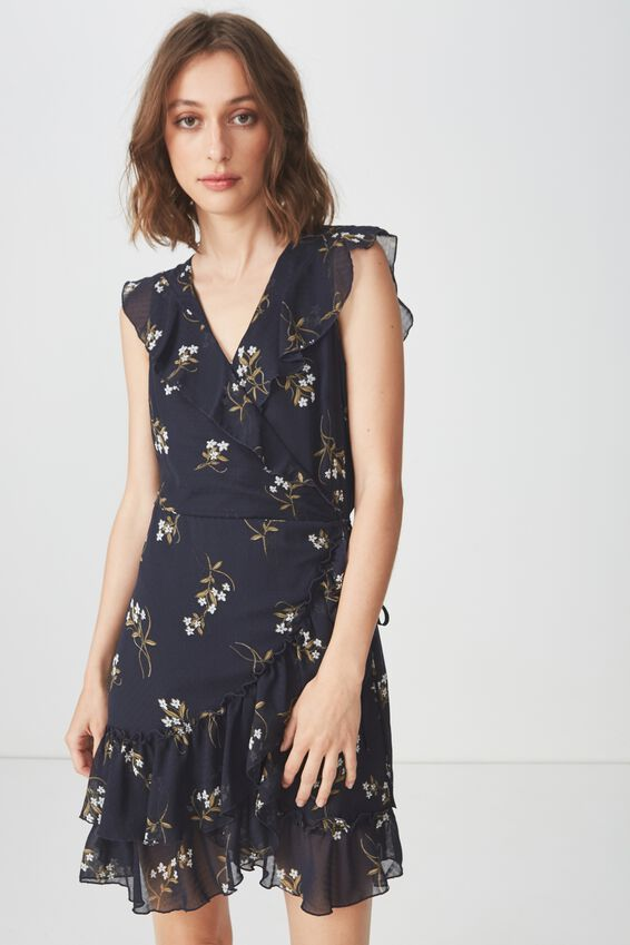Woven Millie Wrap Dress, CLAIRE FLORAL NAVY
