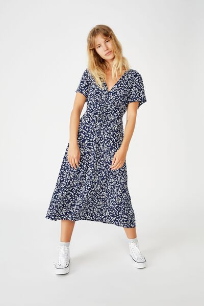 Woven Issa Gathered Front Midi Dress, CORA DITSY MEDIEVAL BLUE