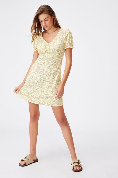 Brianna Ruched Front Mini Dress, HILDA DITSY CALI YELLOW