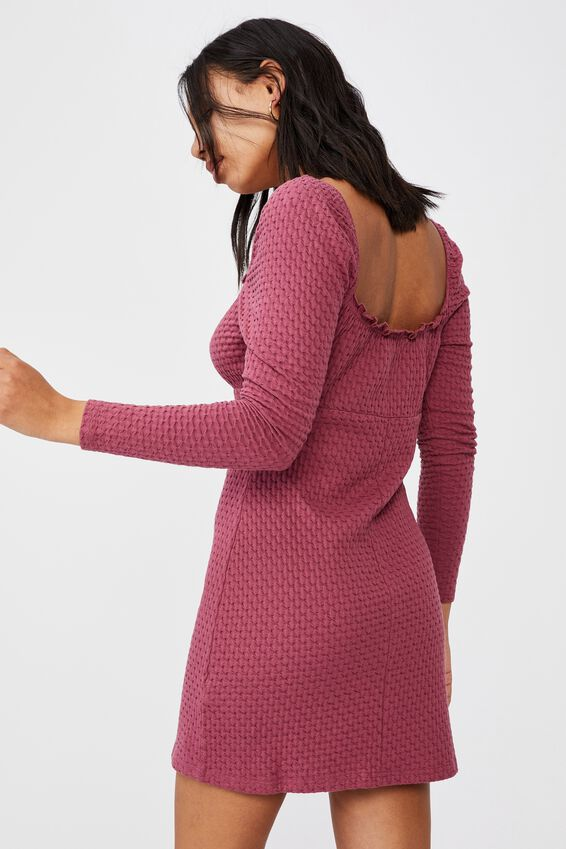Savannah Long Sleeve Mini Dress, CRIMSON PINK