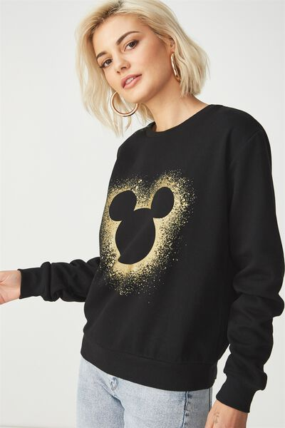 Ferguson Graphic Crew Sweater, LCN SPARKLE MICKEY GOLD/BLACK