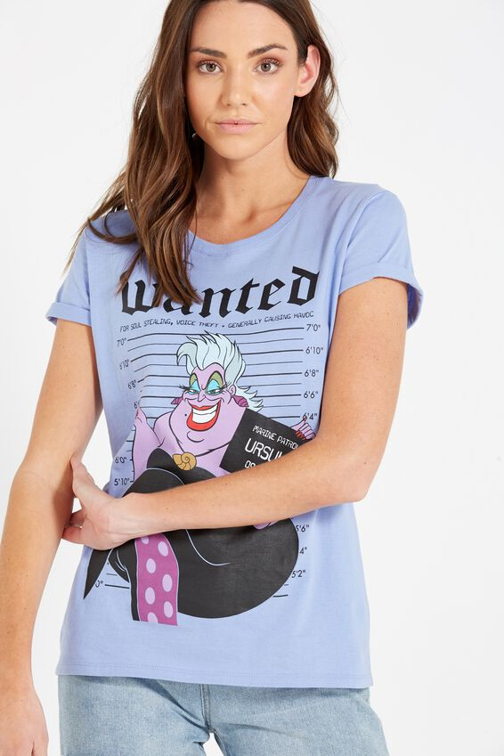 Tbar Fox Graphic T Shirt, LCN DISNEY URSULA/PALE IRIS