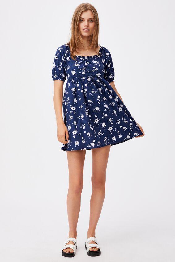Woven Brooke Short Sleeve Ruched Front Mini Dress, SABRA FLORAL NAVY