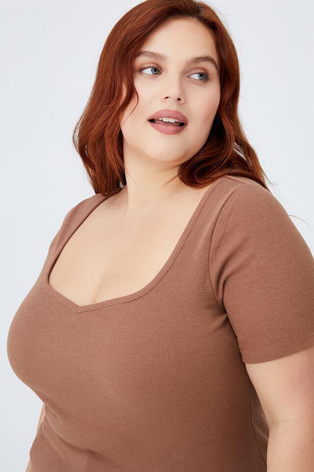 Curve Sweetheart Short Sleeve Top, COCOA BEAN