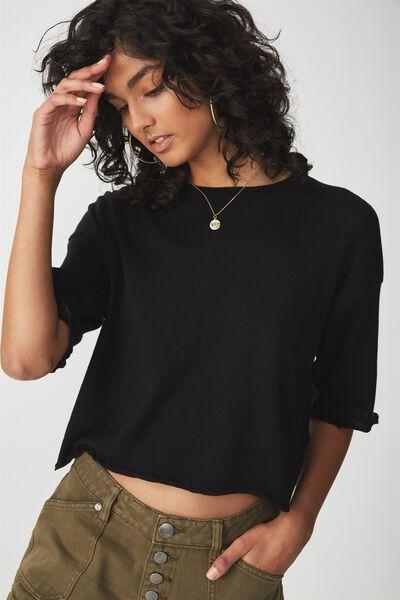 Frankie Knit Tee, BLACK