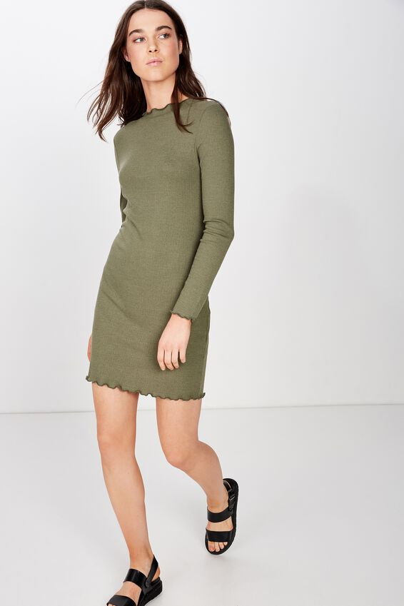 Grace High Neck Long Sleeve Mini Dress, SOFT KHAKI RIB