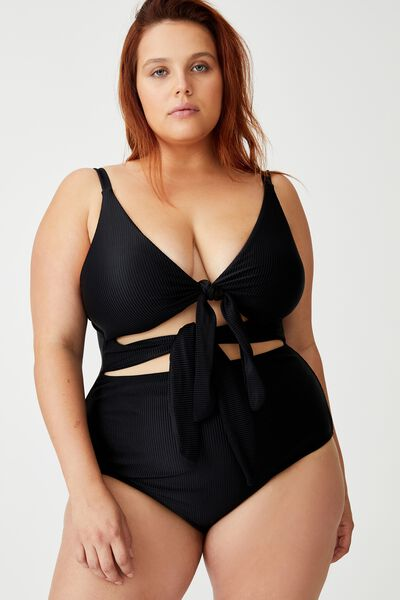 Curve Tie Front Cut Out One Piece, BLACK RIB
