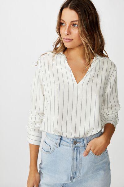 Bex 365 Shirt, HANNAH STRIPE CANNOLI CREAM