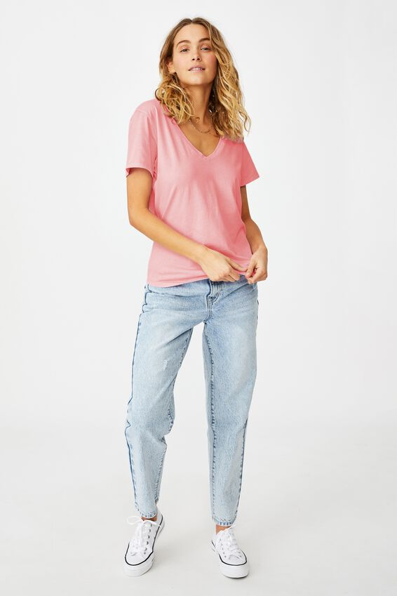 The One Fitted V Tee, WASHED SPRING LILAC
