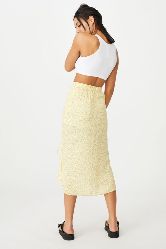 Leah Ruched Side Midi Skirt, ROBYN DITSY LEMON