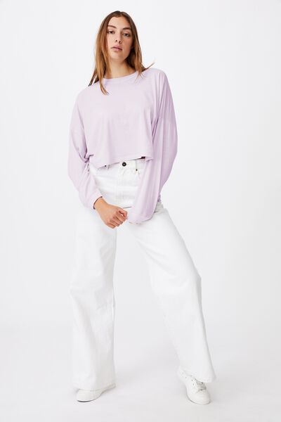 Kyle Batwing Long Sleeve Top, WASHED FROSTY LILAC
