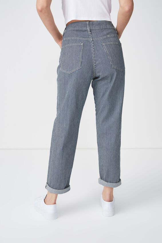Stretch Mom Jean, RAILROAD STRIPE EXPOSED BUTTON