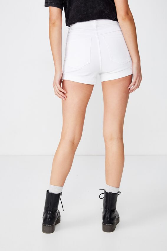 High Rise Classic Stretch Denim Short, WHITE