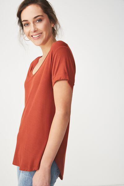 Karly Short Sleeve V Neck Top, TERRACOTTA