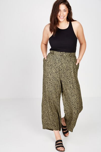 Curve Wide Drape Pant, PIPER ANIMAL LIGHT OLIVE BLACK