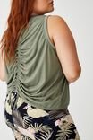 Curve Active Rouched Muscle Tank, STEELY SHADOW