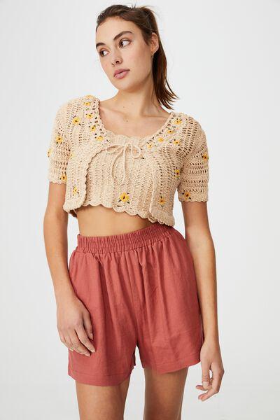Sunflower Tie Crochet Trim Cardi, STONE