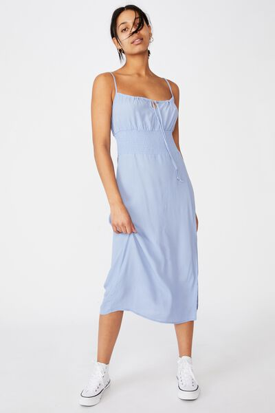 Woven Melody Strappy Midi Dress, VINTAGE BLUE
