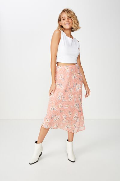 Woven Bella Bias Midi Skirt, LISA ANIMAL FLORAL ROSE TAN
