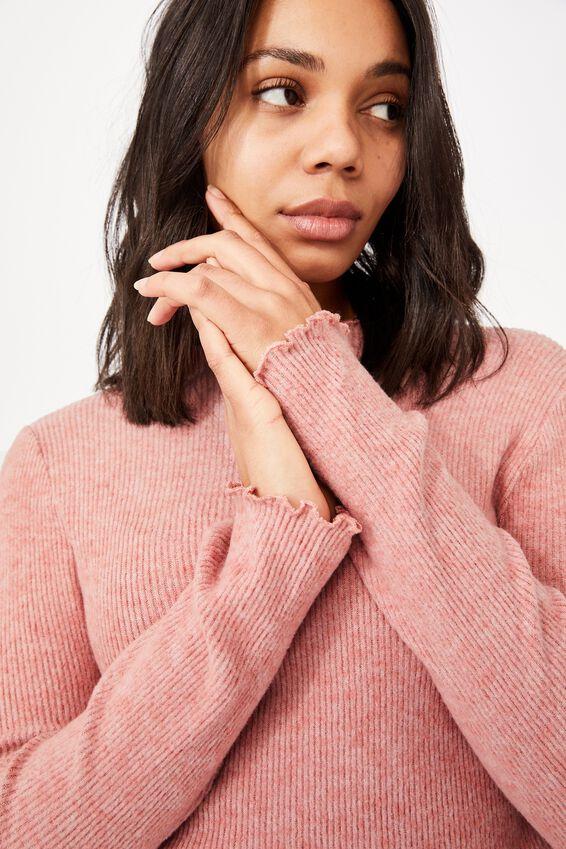 Leona Lettuce Long Sleeve Top, BLUSH