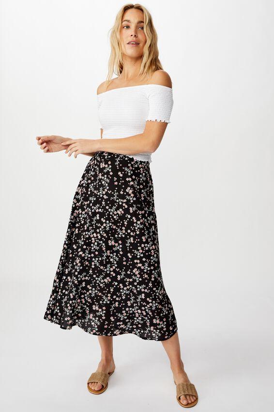 Botanical Midi Skirt, MILLIE FLORAL BLACK