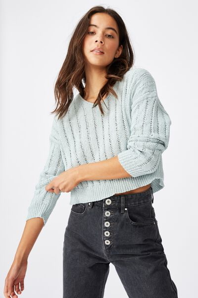 Textured Cropped Pullover, CLOUD BLUE