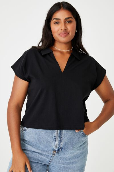 Curve Romi Short Sleeve Polo Top, BLACK