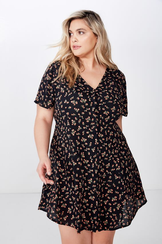Curve Cindy Mini Dress, VICTORIA FLORAL NAVY