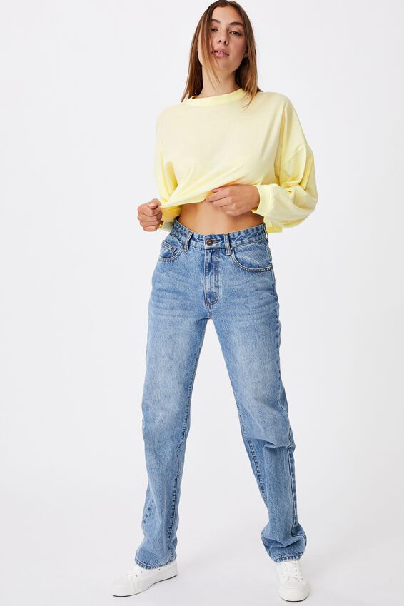 Kyle Batwing Long Sleeve Top, LEMON