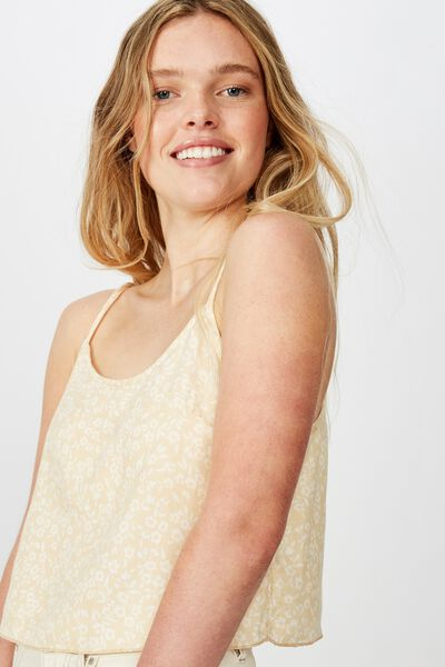 Astrid Cropped Scoop Neck Cami, TAYLAH DITSY PARCHMENT