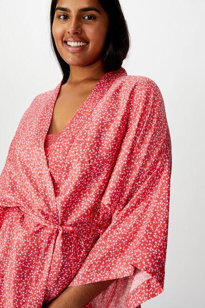 Curve Satin Kimono Gown, TULIP DITSY