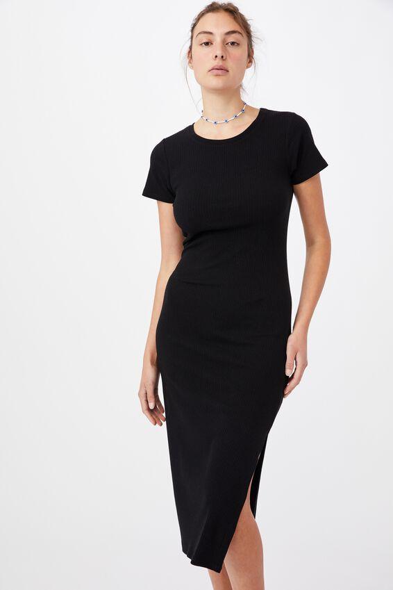 Essential Split Short Sleeve Midi Dress, BLACK