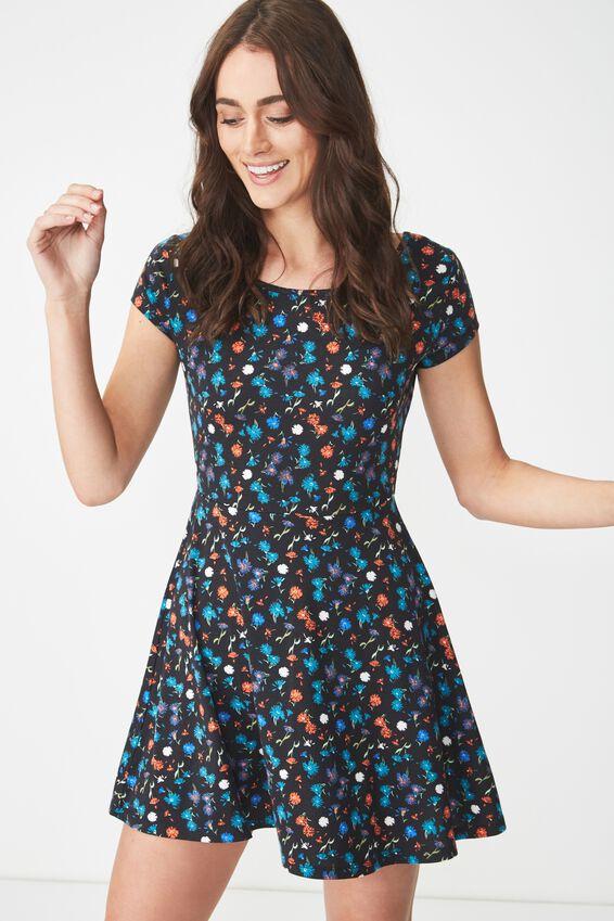 Billie Cap Sleeve Skater Dress, DAISY MULTI BLACK