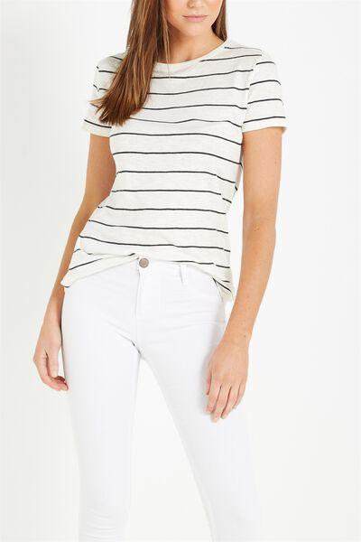 The Crew T Shirt, WIDE STRIPE WHITE/CHARCOAL MARLE