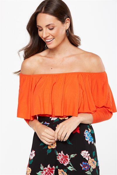 Polly Off The Shoulder Long Sleeve, FLAMENCO