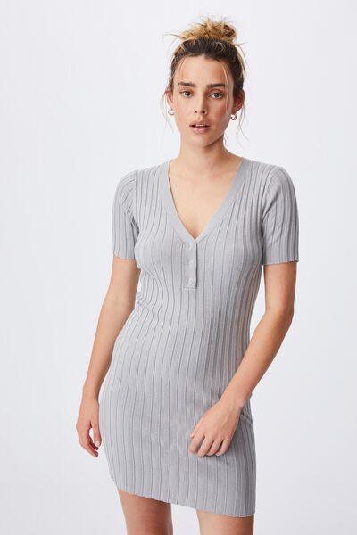 Sustain Me Henley Mini Dress, ZODIAC GREY