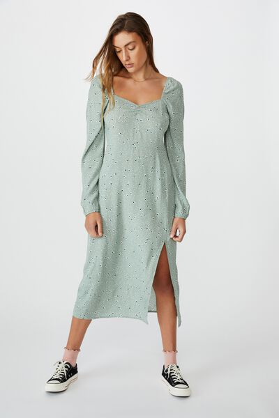 Woven Faye Long Sleeve Split Dress, HEIDI DITSY JADE