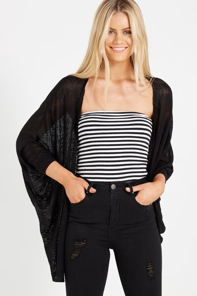 Ot Lila Short Cardigan, BLACK