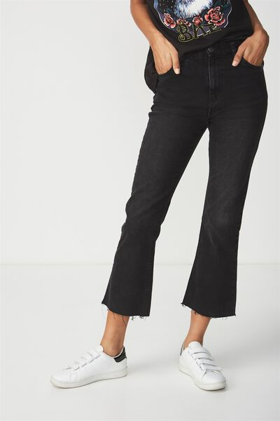 High Rise Kick Flare Crop Stretch Jean, VINTAGE BLACK