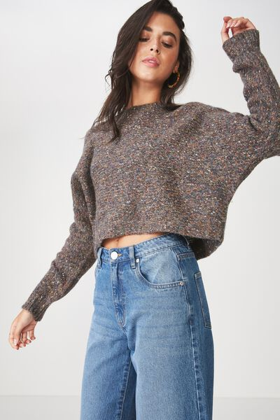 Jeri Batwing Pullover, CHARCOAL MARLE