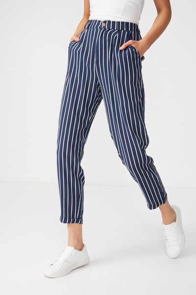 Abi High Waist Pant, SAM VERTICAL STRIPE TOTAL ECLIPSE